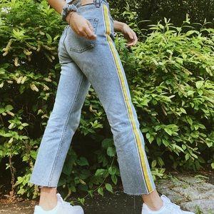 Zara yellow stripe jeans